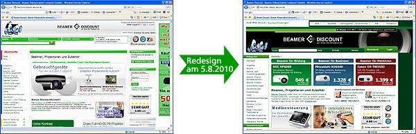 Beamer-Discount Redesign am 5.8.2010