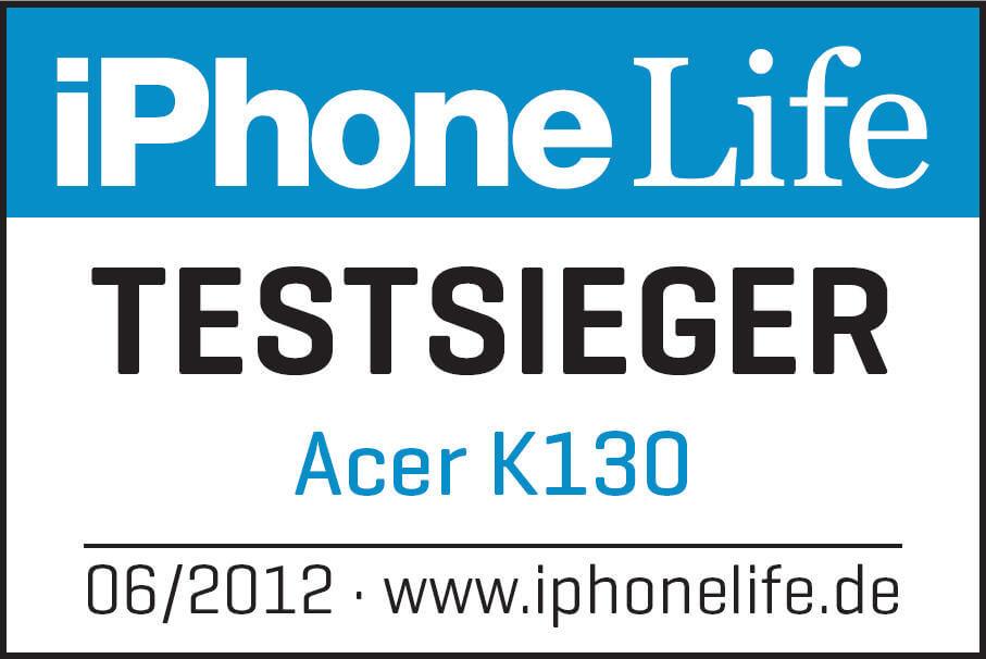Acer K130 iPhone Life Testsiegerlogo