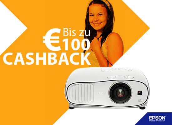 banner cashback klein - Aktion für Endkunden: bis zu 100 € Cash-Back auf ausgewählte Epson Projektoren